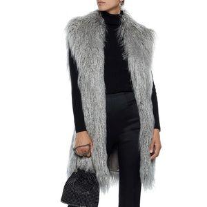 Halston Heritage Long Faux Fur Grey Vest